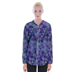 Triangle Tile Mosaic Pattern Womens Long Sleeve Shirt