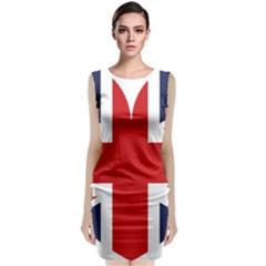Uk Flag United Kingdom Sleeveless Velvet Midi Dress