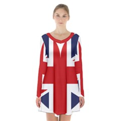 Uk Flag United Kingdom Long Sleeve Velvet V Neck Dress