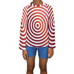Concentric Red Rings Background Kids  Long Sleeve Swimwear by Nexatart