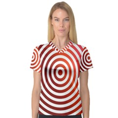 Concentric Red Rings Background V Neck Sport Mesh Tee