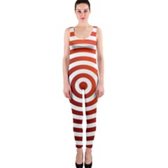 Concentric Red Rings Background Onepiece Catsuit