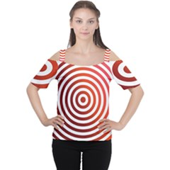 Concentric Red Rings Background Cutout Shoulder Tee