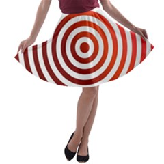 Concentric Red Rings Background A Line Skater Skirt