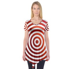 Concentric Red Rings Background Short Sleeve Tunic