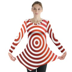 Concentric Red Rings Background Long Sleeve Tunic
