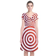 Concentric Red Rings Background Short Sleeve Front Wrap Dress