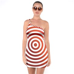 Concentric Red Rings Background One Soulder Bodycon Dress