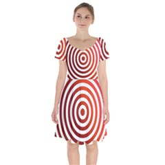 Concentric Red Rings Background Short Sleeve Bardot Dress