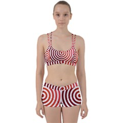Concentric Red Rings Background Women s Sports Set