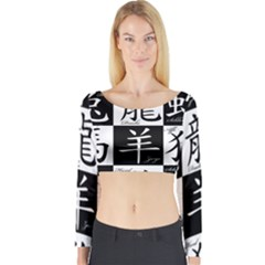Chinese Signs Of The Zodiac Long Sleeve Crop Top
