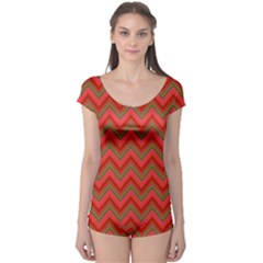 Background Retro Red Zigzag Boyleg Leotard