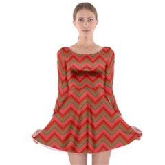 Background Retro Red Zigzag Long Sleeve Skater Dress