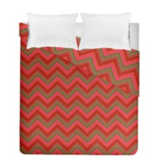 Background Retro Red Zigzag Duvet Cover Double Side (full/ Double Size)