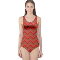 Background Retro Red Zigzag One Piece Swimsuit