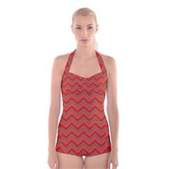 Background Retro Red Zigzag Boyleg Halter Swimsuit