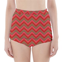 Background Retro Red Zigzag High Waisted Bikini Bottoms