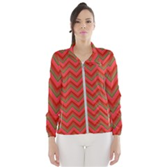 Background Retro Red Zigzag Wind Breaker (women)