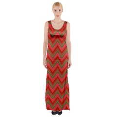 Background Retro Red Zigzag Maxi Thigh Split Dress
