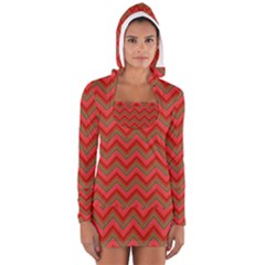 Background Retro Red Zigzag Long Sleeve Hooded T Shirt