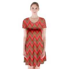 Background Retro Red Zigzag Short Sleeve V Neck Flare Dress