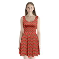 Background Retro Red Zigzag Split Back Mini Dress