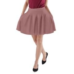 Blush Gold Coppery Pink Solid Color A Line Pocket Skirt by PodArtist