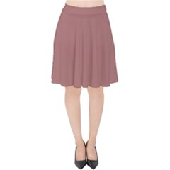 Blush Gold Coppery Pink Solid Color Velvet High Waist Skirt by PodArtist