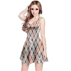 Gray & Orange Diamonds Reversible Sleeveless Dress