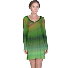 Green Background Elliptical Long Sleeve Nightdress