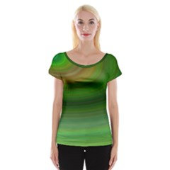 Green Background Elliptical Cap Sleeve Tops
