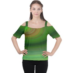 Green Background Elliptical Cutout Shoulder Tee