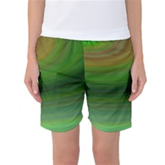 Green Background Elliptical Women s Basketball Shorts