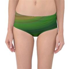 Green Background Elliptical Mid Waist Bikini Bottoms