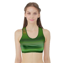 Green Background Elliptical Sports Bra With Border