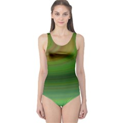 Green Background Elliptical One Piece Swimsuit