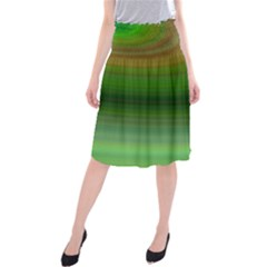Green Background Elliptical Midi Beach Skirt