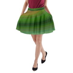Green Background Elliptical A Line Pocket Skirt