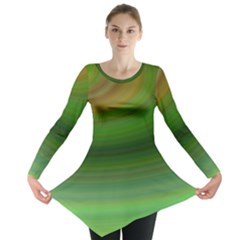 Green Background Elliptical Long Sleeve Tunic
