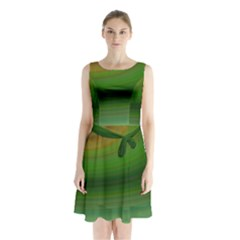Green Background Elliptical Sleeveless Waist Tie Chiffon Dress