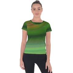 Green Background Elliptical Short Sleeve Sports Top