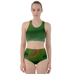 Green Background Elliptical Racer Back Bikini Set