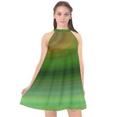 Green Background Elliptical Halter Neckline Chiffon Dress