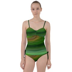 Green Background Elliptical Sweetheart Tankini Set