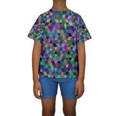 Triangle Tile Mosaic Pattern Kids  Short Sleeve Swimwear