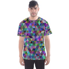 Triangle Tile Mosaic Pattern Men s Sports Mesh Tee