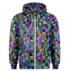 Triangle Tile Mosaic Pattern Men s Zipper Hoodie