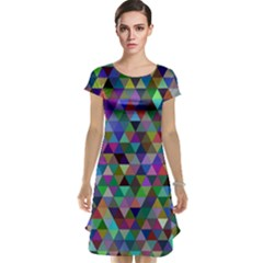 Triangle Tile Mosaic Pattern Cap Sleeve Nightdress