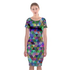 Triangle Tile Mosaic Pattern Classic Short Sleeve Midi Dress