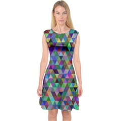 Triangle Tile Mosaic Pattern Capsleeve Midi Dress